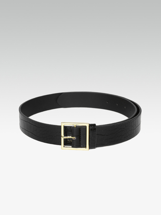 Belts-Trendy Fix Black Textured Belt