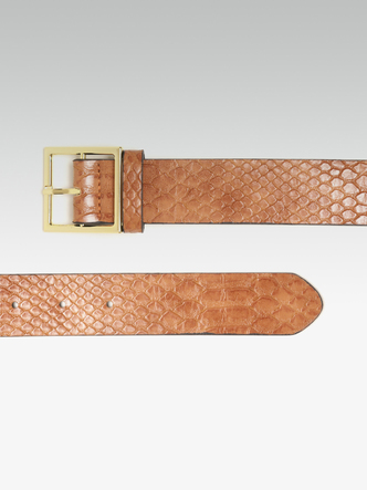 Belts-Trendy Fix Brown Textured Belt