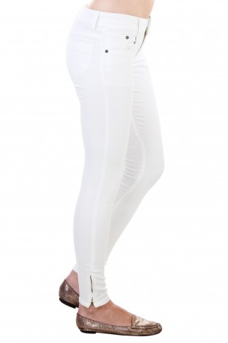 Denims Jeggings and Leggings-White Ankle Length Zipper Denim