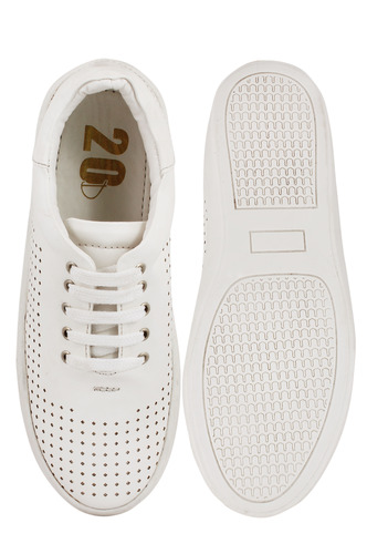 Sneakers and Loafers-White Perforated High Sole Sneakers
