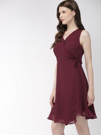 Dresses-Wine Wrap Her Up Polka Dress