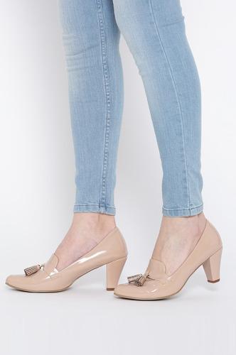 Heels and Wedges-Work It Down Beige Brogue Heels