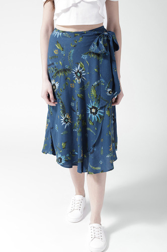 Shorts and Skirts-Wrap Me Knot Floral Printed Skirt