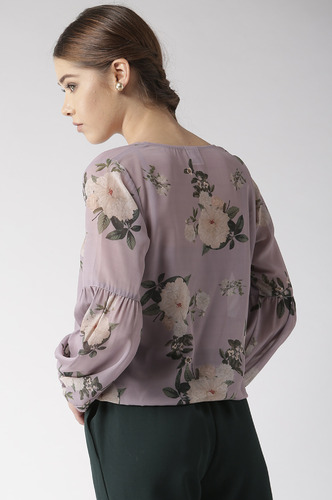 Tops-Wrapped Deeply In Florals Top